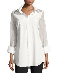La Petite Robe Di Chiara Boni | Augustina 3/4-sleeve Organza-trim Blouse | Lyst