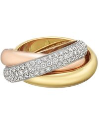 """Cartier - 18k Tricolored Gold & Diamond """"trinity"""" Ring - Lyst"""