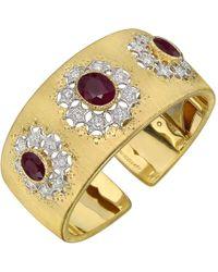 Buccellati - 18k Gold, Ruby & Diamond Cuff Bracelet - Lyst