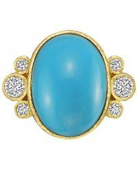 Elizabeth Locke - Bezel-set Turquoise & Diamond Ring - Lyst