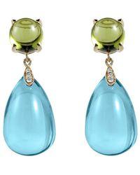 Goshwara - Blue Topaz & Peridot Drop Earrings - Lyst