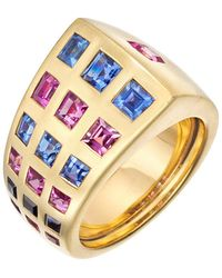 """Chanel - Blue & Pink Sapphire """"byzantine"""" Band Ring - Lyst"""