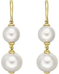 "Goshwara - Double Pearl ""beyond"" Drop Earrings - Lyst"
