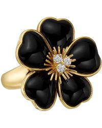 "Van Cleef & Arpels - Black Onyx & Diamond ""rose De Noel"" Ring - Lyst"