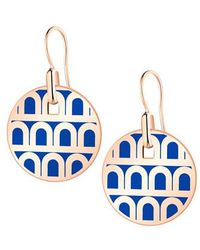 """Davidor - Small 18k Rose Gold & Riviera Blue Lacquer """"l'arc"""" Pendant Earrings - Lyst"""
