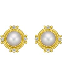 Elizabeth Locke - 19k Yellow Gold, Mabe Pearl & Diamond Earrings - Lyst