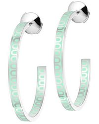 "Davidor - Medium 18k White Gold & Mint Green Lacquer ""l'arc"" Hoops - Lyst"