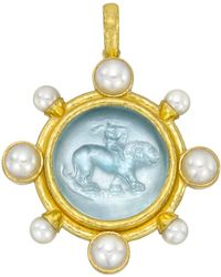 Elizabeth Locke - 19k Yellow Gold & Venetian Glass Intaglio Pendant - Lyst