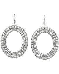 "Ivanka Trump - Medium 18k White Gold & Diamond ""signature"" Drop Earrings - Lyst"