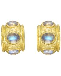 Elizabeth Locke - 19k Yellow Gold & Moonstone Hoop Earrings - Lyst