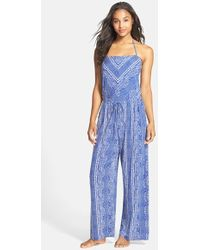 Robin Piccone | Print Halter Jumpsuit Cover-up | Lyst
