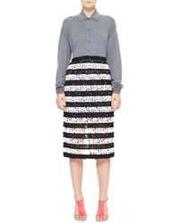 Burberry Prorsum Striped Curlicue Embroidered Lace Midi Skirt - Lyst