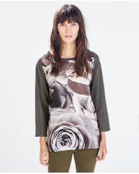 Zara Mixed Print Linen Tshirt - Lyst