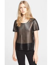 Burberry London Perforated Leather Top - Lyst