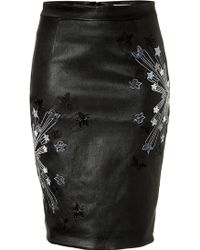 Matthew Williamson Embroidered Leather Skirt - Lyst