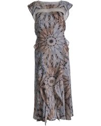Philosophy di Alberta Ferretti Silk Ruffle Front Dress - Lyst