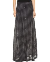 Tess Giberson Long Skirt with Placket Charcoal Gingham - Lyst