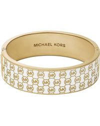 Michael Kors Monogram Hinge Bangle Whitegolden - Lyst