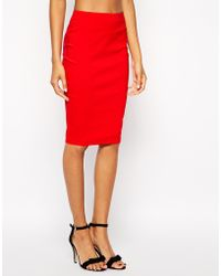 Asos High Waisted Pencil Skirt - Lyst