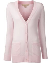 Michael Kors Featherweight Cashmere Cardigan pink - Lyst