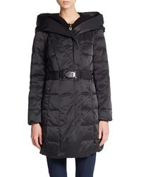 Elie Tahari North Knit-Inset Hooded Coat - Lyst