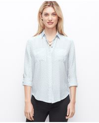 Ann Taylor Dotted Silk Camp Shirt - Lyst
