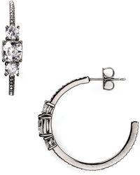 Nadri Pave Hoop Earrings - Lyst