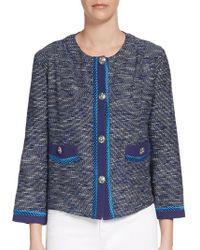 Etro Cropped Tweed Jacket - Lyst