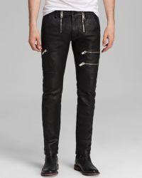 Diesel Jeans Pzipps Leather Slim Fit in Black - Lyst