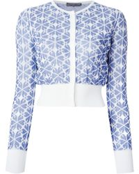 Alexander McQueen Embossed Cut Out Jacquard Cardigan - Lyst