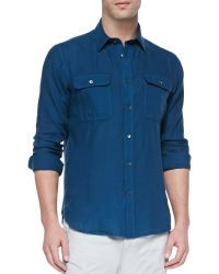 Theory Gerald Linen Buttondown Shirt Teal - Lyst