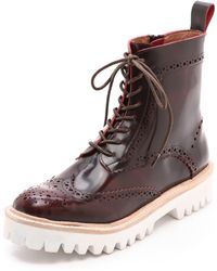 Jeffrey Campbell Clash Lug Sole Combat Boots Wine - Lyst