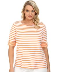 Pendleton Plus Size Double Stripe Rib Tee orange - Lyst