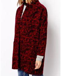 Ganni Coat In Boiled Wool Animal Print - Lyst