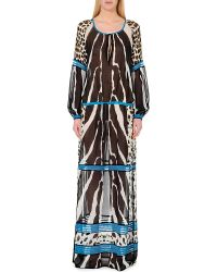 Roberto Cavalli Zebra-Print Silk Kaftan - For Women - Lyst