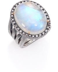 Rene Escobar - Rainbow Moonstone, Diamond & Sterling Silver Oval Ring - Lyst