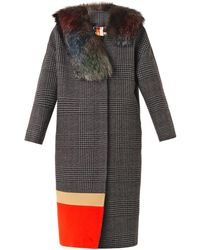 MSGM Fur Trimmed Prince Of Walescheck Coat - Lyst