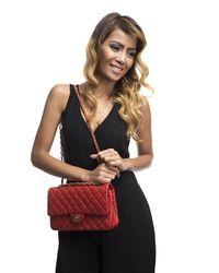Chanel Pre-owned Orange Lambskin Medium Double Flap Bag - Lyst
