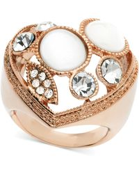 Guess Rose Goldtone Crystal and Stone Heart Adjustable Ring - Lyst