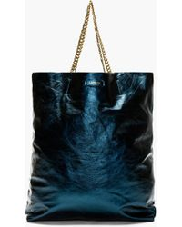 Lanvin Metallic Blue Leather Cracked Runway Tote Bag - Lyst