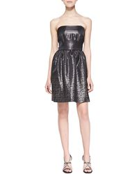 Shoshanna Chelsea Strapless Jacquard Dress - Lyst