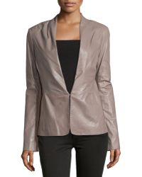 Halston Heritage Knit-Panel Leather Blazer brown - Lyst