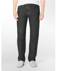 Calvin Klein Relaxed Straight Leg Deep Centre Dark Wash Jeans - Lyst