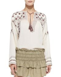 Etoile Isabel Marant Vicky Floral-Embroidered Tassel Blouse - Lyst