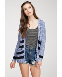 Forever 21 Striped Marled Knit Cardigan - Lyst