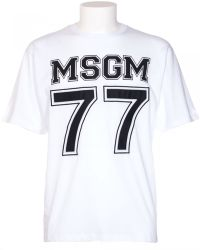 MSGM White Cotton T-Shirt With Logo And Patch 77 white - Lyst