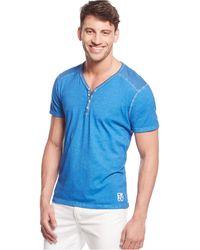 DKNY Solid Henley Shirt blue - Lyst