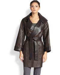 Akris Thorne Reversible Leather Coat - Lyst