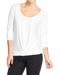 Old Navy White Drapefront Top - Lyst
