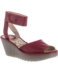 Fly London Yula Wedge Sandal Cherry Red Leather - Lyst